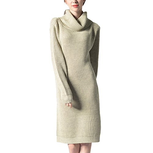 Zhhlaixing Bellissimo maglione Fashion Knitted Sweater Long Section of High Dress Collar Shirt Multicolor for Your Beauty Beige