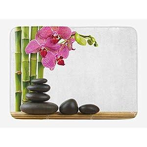 MMPTn Badteppich rosa Orchidee Bambus schwarzem Hot Stone Massage Bilddruck Plüsch Badezimmer Matte Rutschfester Rückseite 40x60cm Flanell-Material geeignet Indoor-Heimtextilien Farbe