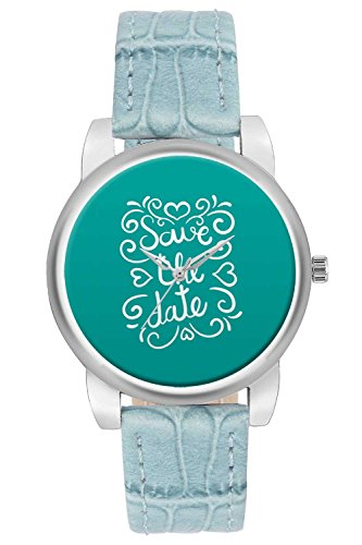 Women's Watch, BigOwl Save the date blue Designer Analog Wrist Watch For Women - Gifts for her dials