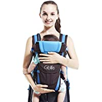 Adjustable Baby Carrier Backpack 4 Positions Pouch Bag Wrap Soft Structured Ergonomic Design for Newborn Baby Infant Toddlers (Blue)