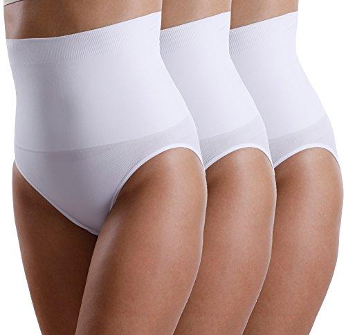 3er Pack Yenita Damen Miederslip mit Bauchweg-Effekt, Figurformender Slip, Medium, Weiß