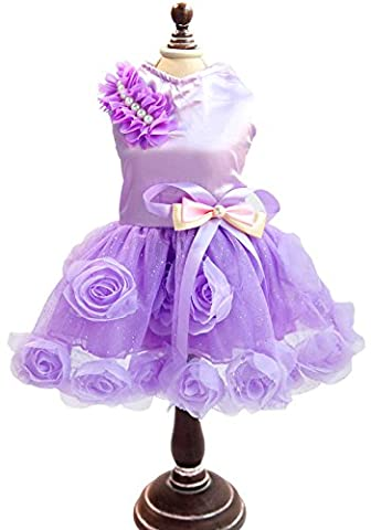 SMALLLEE_LUCKY_STORE Pet Small Dog Puppy Cat Clothes Coat Wedding Costume Satin Rose Formal Dress Tutu Purple Violet M by smalllee_lucky_store