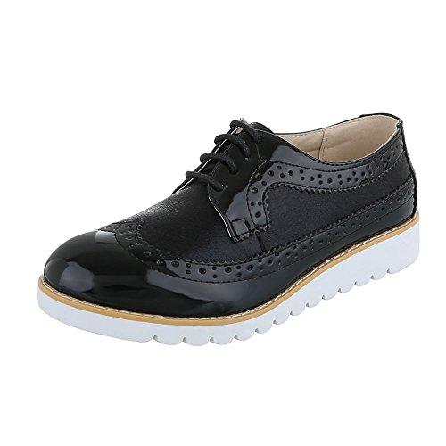 Ital-Design Schnürer Damen-Schuhe Oxford Schnürer Schnürsenkel Halbschuhe Schwarz, Gr 38, 62021-