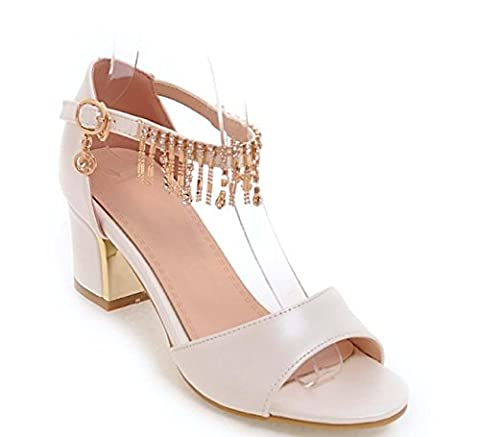 NobS Tassel Grande Taille Sandales 32-43 Taille Femmes Open Toe Ankle Strap Pantoufles Ladies Pearl Tissu Chunky Chaussures , white , 43 (not returned)