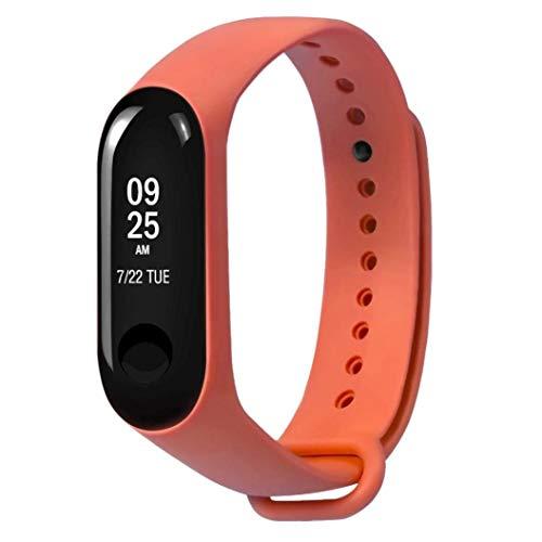 Xiaomi Mi Band 3 Fitnessarmband mit Herzfrequenzmessung, Armband: Silikon Orange, inkl. Wechselarmband: Schwarz - Silikon (Vibrations-sensor-armband)