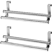 2x–Toallero doble de acero inoxidable soporte para paño de cocina Trapo Soporte para colgar en armario puerta