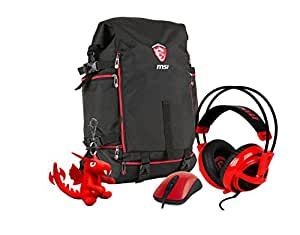 MSI Gaming Xmas Pack 2016 per GT, zaino MSI Battlepack, cuffie headset Steelseries Siberia 200, mouse per gaming MSI Super Genius Gaming Mouse III Dragon