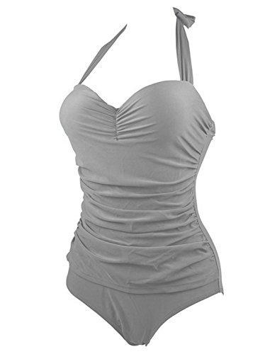 Einteiler Bademode Damen Neu Sommer Bikinis Stand Reizvolle Badebekleidung Rückenfrei Bademode Volltonfarbe Swimwear Bauchweg Badeanzuege Grau