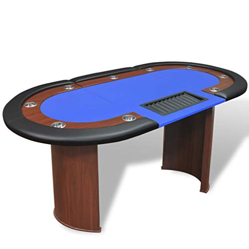Xinglieu Tisch Poker 10 Postation Dealer Tablett Chip blau Poker und Spielbrett