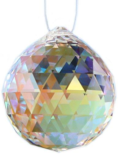Kristallset: Kristall Kugel 30mm Effekt: Aurore Boreal (AB) von Swarovski Kristalle mit Rieser® Aufhängeset Feng Shui Kristallglas Set