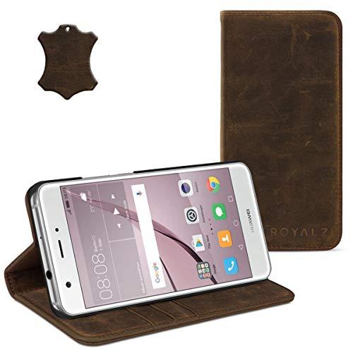 ROYALZ Schutzhülle für Huawei Nova Hülle Leder Book Case Tasche Cover Vintage Etui Schutztasche Lederhülle Standfunktion mit unsichtbaren Magnet, Farbe:Braun