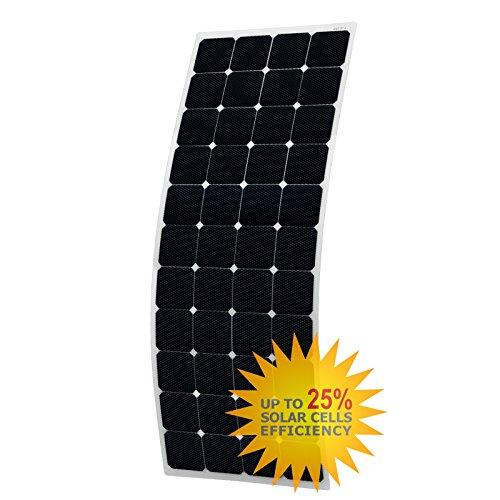 150W semiflexiblem Solar Panel aus Back-Contact Zellen mit Langlebige ETFE Beschichtung–mit kreisrundem rund hinten Abzweigdose und 3m Kabel,, für ein Wohnmobil, Wohnwagen, Wohnmobil, RV, LKW, Trailer, Boot, Yacht oder netzferne Solar Power System