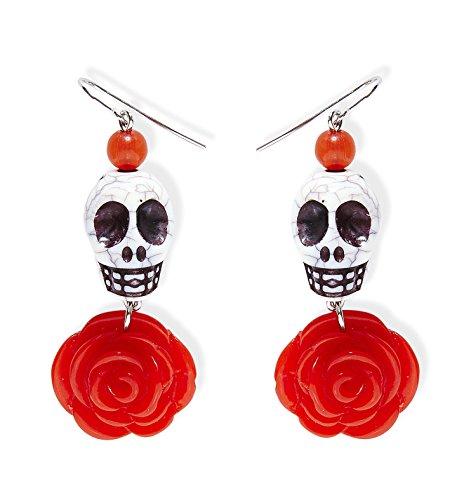 NEU Ohrringe mit weißem Totenkopf und roter Rose