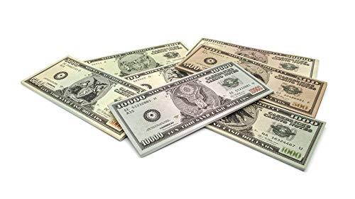 Cashbricks 7 x 25 Spielgeld Dollar Scheine (200$-20.000$) Set (Kostüm Gutschein 25)