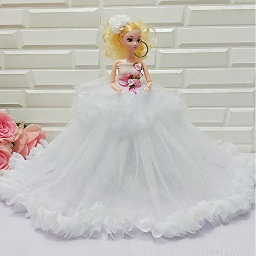 MEMIND 35 cm Große Hochzeitskleid Ausländische Puppe Kleines Mädchen Spielzeug Geschenk Boutique Mode Loli Prinzessin Dress Up Puppe Festival Geburtstag, White (Mädchen Kleine Boutique Outfits)