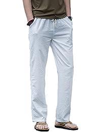 Homme Pantalon en Lin de Loisirs Respirant avec Poches Taille Elastique Cordon de Serrage
