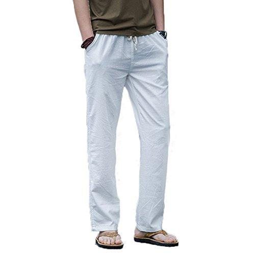 WSLCN Homme Pantalon en Lin de Loisirs Pantalons Décontractée de Plage Eté Respirant avec Poches Taille Elastique Cordon de Serrage Blanc FR L (Asie XXL)