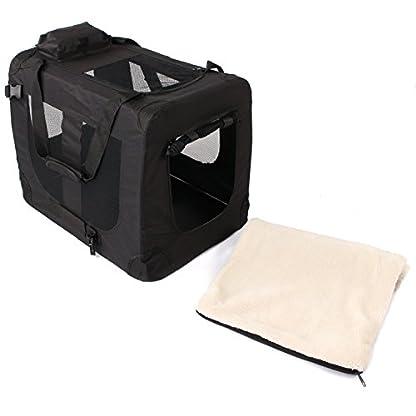 TRESKO® Folding Portable Soft Fabric Pet Carrier with Fleece Mat and Food Bag (S 49 x 32 x 35 cm, Beige) 4