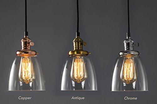 Feven Hängeleuchte mit Glas-Lampenschirm, transparente Deckenleuchte, Vintage-Stil, hohe Qualität, passt zu jedem Einrichtungsstil, mit Glühbirne, für Küche, Speicher, Esszimmer und mehr chrom Glas Lampenschirme Für Deckenleuchten