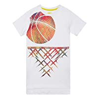 Bluezoo Kids Boys' White Basketball Print T-Shirt Age 6-7
