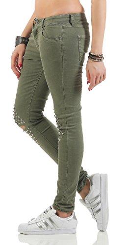 SKUTARI Damen Jeans Skinny Röhrenjeans Nieten Destroyed Biker Jeans Grün