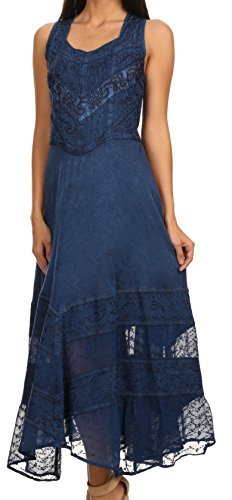 Sakkas Zendaya Stonewashed Rayon Embroiderot Floral Vine Ärmelless V-neck Kleid Navy