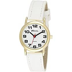 RAVEL WOMEN'S ROUND WHITE DIAL WATCH WITH WHITE STRAP R0105.34.2A