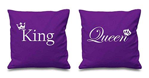 King und Queen Krone lila Kissen 40,6x 40,6cm Paare Kissen Valentinstag Jahrestag Freund Freundin Schlafzimmer Dekorative Kissen Home - Schlafzimmer-dekorative Kissen