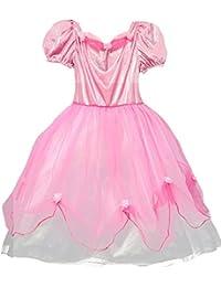 Prinzessin Beca Kostüm für Mädchen - Wunderschönes rosa Kleid für Kindergeburtstag, Karneval, Ritterfest oder Mittelalter Mottoparty