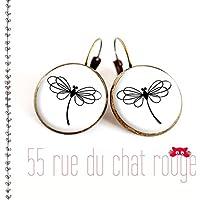 Ricci di orecchi cabochon di bicchiere 14 mm libellula RIFINITURA BRONZA