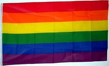 Qualitäts Fahne Flagge Regenbogen Rainbow 90 x 150 cm mit verstärktem Hissband