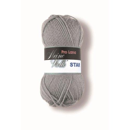 50 g Pro Lana Star, Fb. 95 grau, ca. 135 m Lauflänge, 100 % Polyacryl (Melierten Grau Garn)