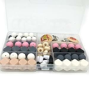 Coskiss Teether giocattoli luminosi colori del silicone dentizione Kit geometrica esagonale in silicone collana Nursing Anelli Perle dentizione in legno fai da te (Gray)