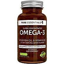Omega-3 di Olio di Pesce Selvatico Concentrato con Vitamina D 3 Pure Essentials | 600mg Omega-3 EPA e DHA | Olio di Pesce 893 mg | 1-al-giorno | Gusto al Limone | 60 capsule