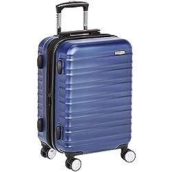 AmazonBasics Valise rigide à roulettes pivotantes de qualité supérieure avec serrure TSA intégrée, Taille cabine 55 cm, Bleu