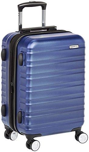 AmazonBasics - Trolley rigido Premium con rotelle pivotanti e lucchetto TSA integrato, bagaglio a mano 55cm, Blu