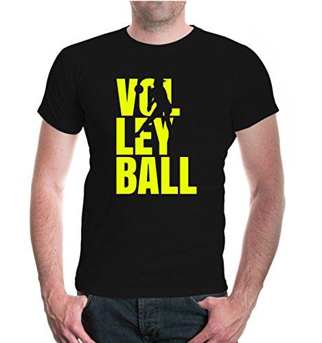 buXsbaum® T-Shirt Volleyball Type Black-Neonyellow