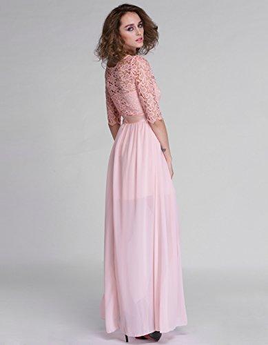 ZEARO Damen Elegant Spitze Chiffon Maxikleid Cocktailkleid Partykleid Abendkleid Hochzeitkleid Rosa