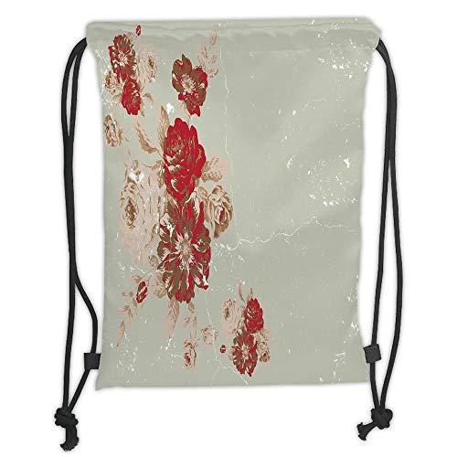 OQUYCZ Drawstring Sack Backpacks Bags,Antique Decor,Vintage Style Rose Print on a Marble Pattern Floral Antique Design Garden Decor,Beige Cream Red Soft Satin,5 Liter Capacity,Adjustable Strin -