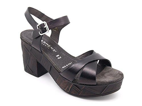 Carmens Padova sandali donna, tomaia pelle nera, suola gomma (EU 39)
