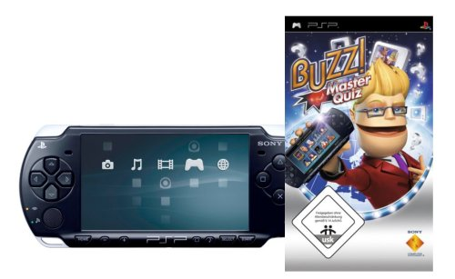 PlayStation Portable - PSP Konsole Slim & Lite, black + Buzz! Master Quiz