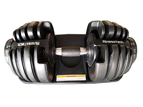 FitnessTech Haltères Réglables 24kgs/ Haltères Ajustables / Adjustable Dial Dumbbbell 24 Kgs / Efficacité et Gain de Place