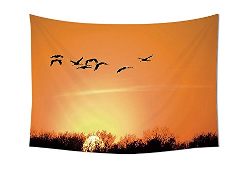 Flying Birds Decor Wandteppich für Bird Migration über Wüste Herbst View bei Sonnenuntergang Abend Seasonal Bild Print Schlafzimmer Wohnzimmer Wohnheim Decor orange schwarz, multi, 10W By 8L Inch (Flying Birds Home Decor)