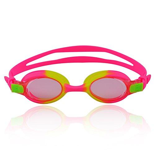 »Picco« Kinder-Schwimmbrille, 100% UV-Schutz + Antibeschlag. Starkes Silikonband + stabile Box. Top-Marken-Qualität! AF-700, pink/gelb
