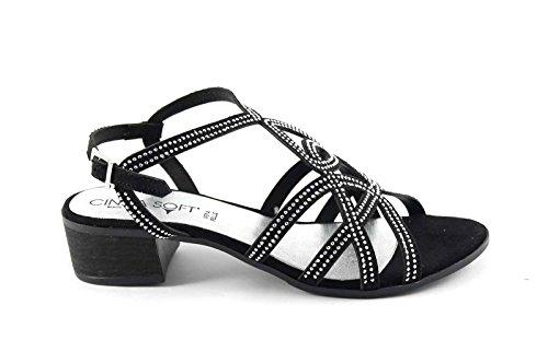 CINZIA SOFT IZ77500 nero scarpe sandali donna pelle strass cinturino 37
