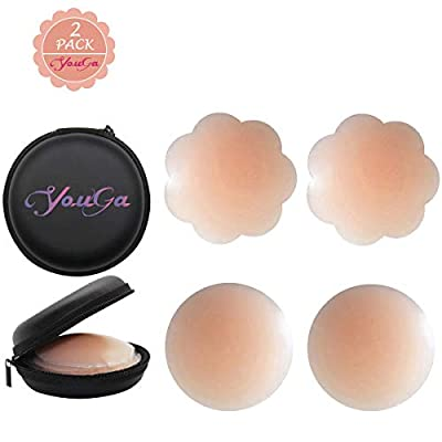Women Silicone Pasties, Adhesive Bra Reusable 2/4 Pairs Invisible Silicone Nipple Cover