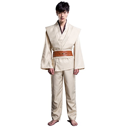 Dreamworldeu Star Wars Kostüm Shirt Hosen Gürtel Jedi Brown Halloween Party Cosplay 3-teilig Beige (Kostüm Star Halloween Wars)
