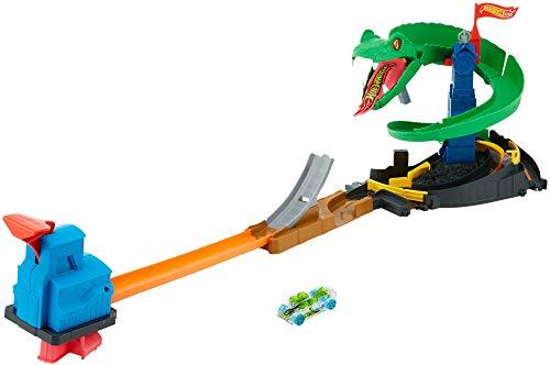 Hot Wheels FNB20 - City Kobra Angriff Set, großes Spielset mit Schlange inkl. 1 Spielzeugauto, und Starter, ab 4 Jahren (Hotwheels Builder Track)