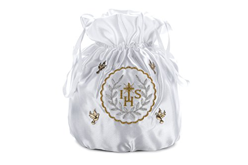 Princess in Gold Taufkleid und Brautbeutel Weiß aus Ivory Silber Weiß Satin qT6qwrI