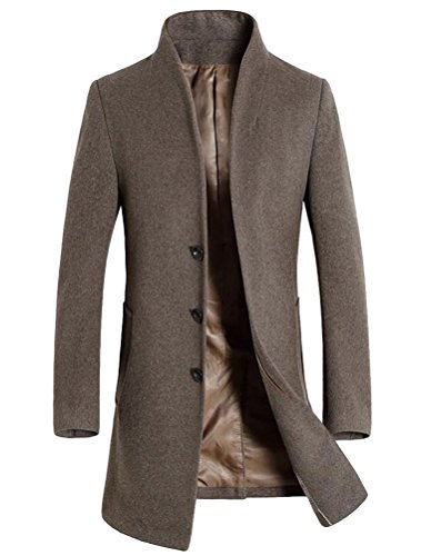 Vogstyle Herren Winter Slim Fit Wollmantel Business Überzieher Schlank Lange Windbreaker Jacken Dick Kamel